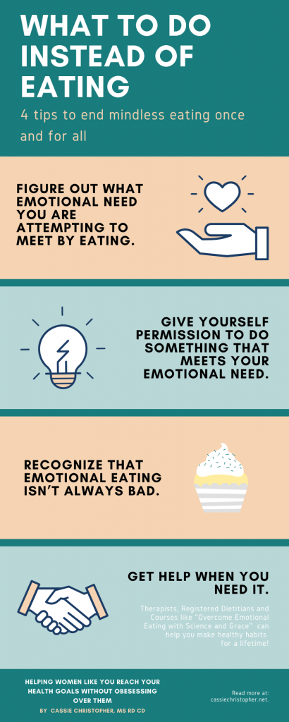 What to do instead of eating, 4 tips to end mindless eating once and for all infographic