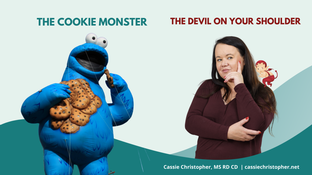Image of a Cookie Monster and a lady with the Devil on her left shoulder.