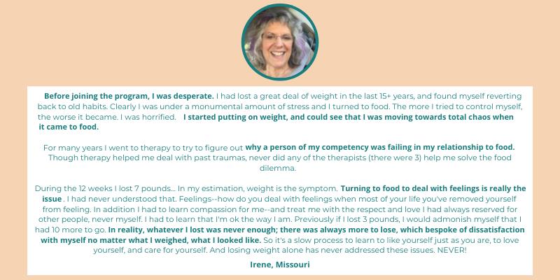 Testimonial of Irene, Stress Less Weight Mastery graduate